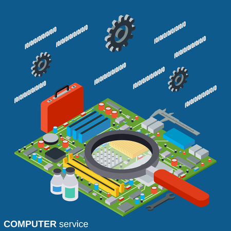 Computer service, repair, first aid vector concept illustration