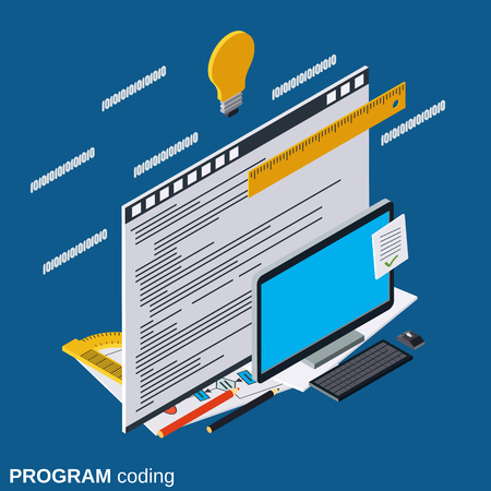 Application development, program coding, software testing flat isometric vector concept Illustration