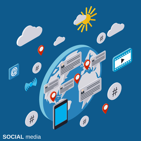 Social media, network, global communications, live chat flat isometric vector concept