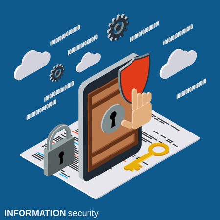 Information security, mobile phone protection flat isometric vector concept