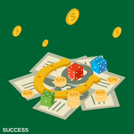 Success flat isometric concept illustration