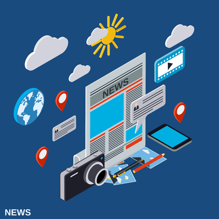 Newscast, information, journalism, mass media flat 3d isometric illustration Illustration