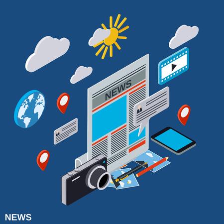 Newscast, information, journalism, mass media flat 3d isometric illustration Illustration