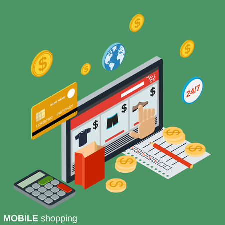 Mobile shopping, online store, distant trade, e-commerce flat isometric vector concept Illustration
