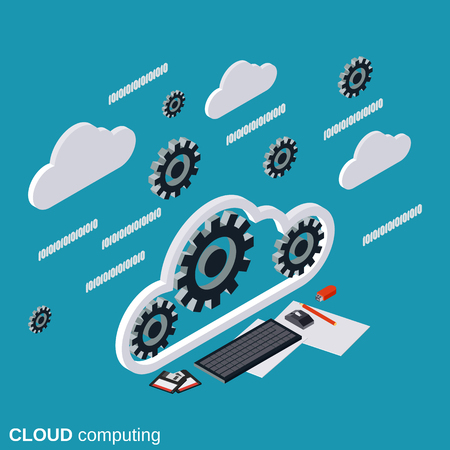 Cloud computing, network, data processing flat isometric vector concept illustration Illustration
