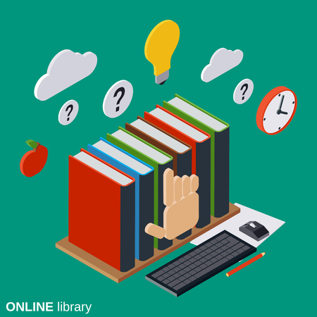 Online library, education, reading flat isometric vector concept illustration