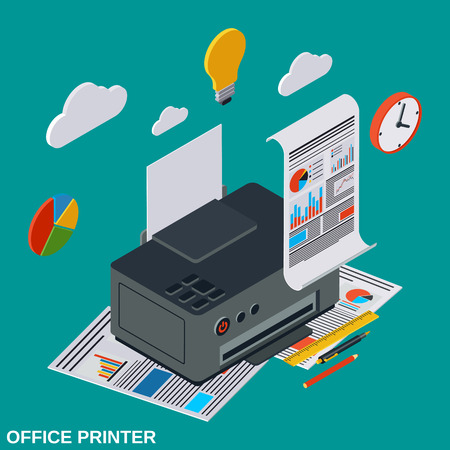 Office and home printer flat 3d isometric vector illustration Illustration
