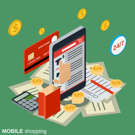 Mobile shopping flat 3d vector concept illustration Illustration