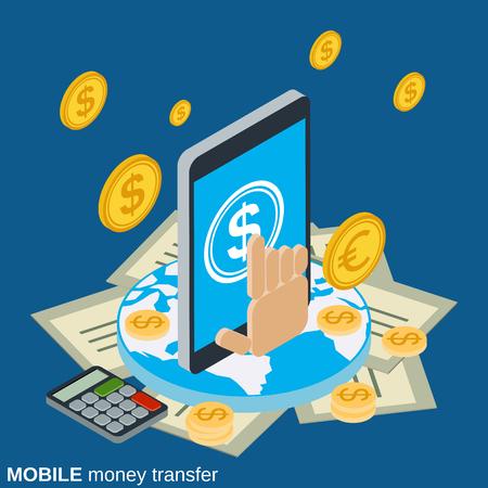 Transfert d'argent mobile, paiement, services bancaires en ligne, concept de vecteur de transaction financière Banque d'images - 79552483