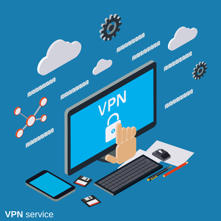 VPN service flat 3d isometric vector concept