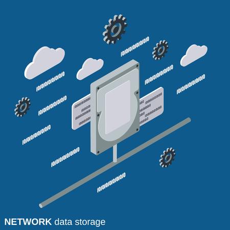 Network data storage, web disc flat 3d isometric vector concept Illustration