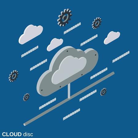 Cloud disc flat 3d isometric vector concept