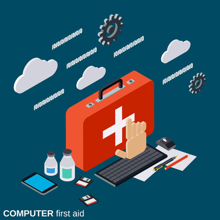 Computer service, repair, technical support, first aid vector concept