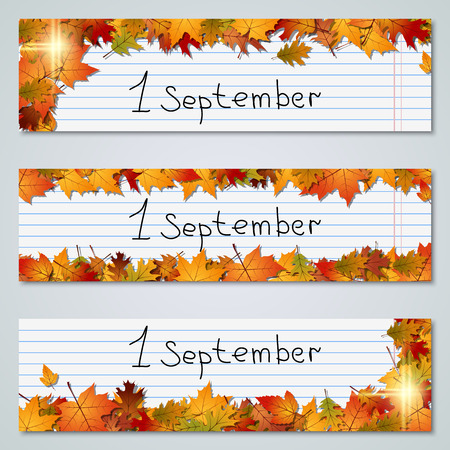fall leaves: Back to school autumn vector banners collection