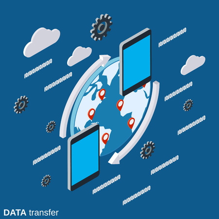 Data transfer flat 3d isometric vector concept illustration
