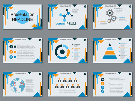 Professional business presentation, slide show vector design template Stock Vector - 83392525
