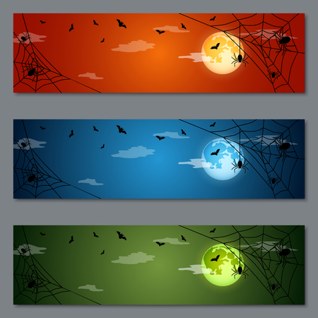Halloween colorful vector banners collection Illustration