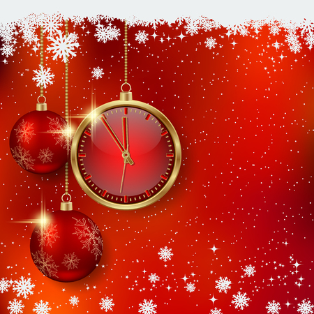 light chains: Christmas and New Year concept; Timer, Christmas Balls decoration in red shining stars background