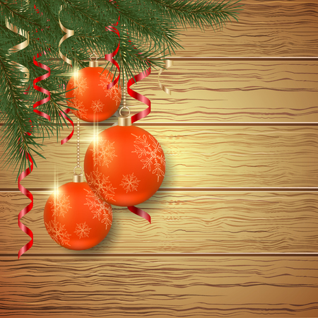 ball and chain: Christmas and New Year wooden vector background with clock, balls and fir twigs. Illustration