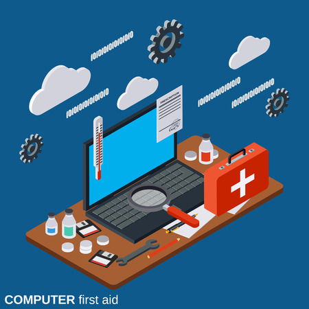 Computer first aid, service, technical support flat 3d isometric concept illustration