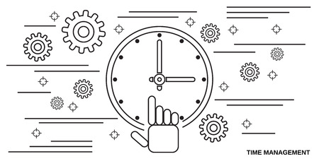 Time management thin line art style  concept illustration 일러스트