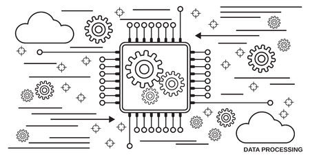Data processing, information computing thin line art style vector concept