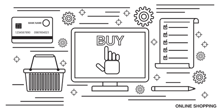 Online shopping, distant trading thin line art style vector concept