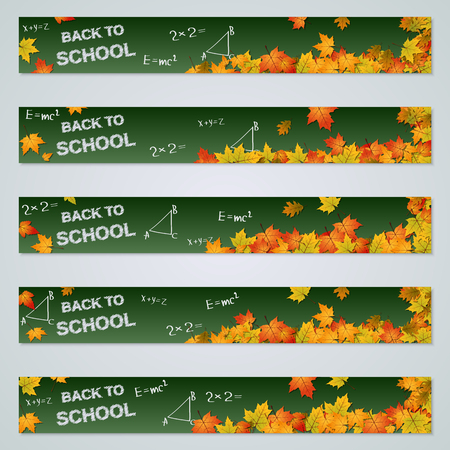 Back to school autumn horizontal banners vector collection