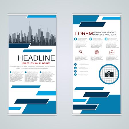 Modern roll-up business banners vector design template