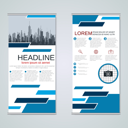 Modern roll-up business banners vector design template