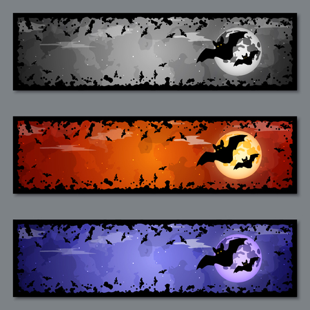 Halloween colorful banners vector templates collection  イラスト・ベクター素材