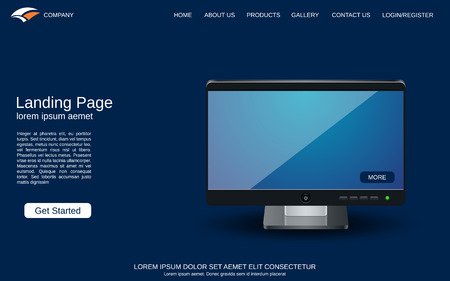Website landing page design template. Blue vector background with desktop monitor illustration