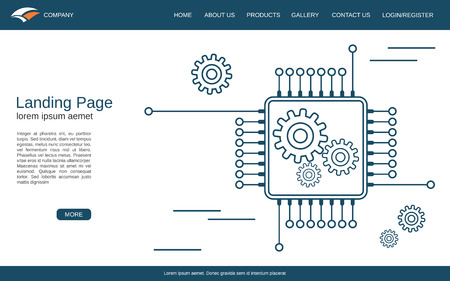 Website landing page vector template. White background with processor thin line illustration