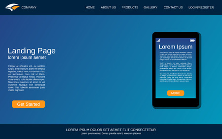 Website landing page design template. Blue vector background with smartphone flat illustration Ilustração