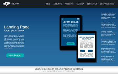 Website landing page design template. Blue vector background with smartphone flat illustration Illustration