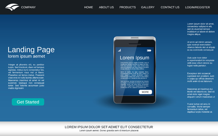 Website landing page vector template. Abstract vector background with smartphone realistic icon for webpage and application