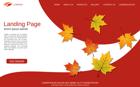 Website landing page vector template. Autumn style vector background