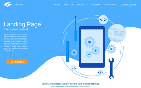 Website landing page vector template. Abstract vector background with mobile application development flat illustration Ilustrace