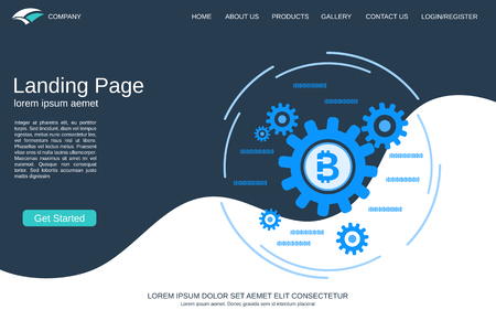 Website landing page vector template. Abstract geometric style background with cryptocurrency mining flat vector concept illustration