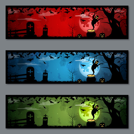 Halloween colorful banners vector templates collection Vettoriali