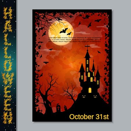 Halloween scary night flyer vector design template Illustration