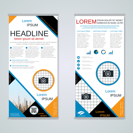 Modern roll-up abstract geometric style business banners, two-sided flyer vector design template Vector Illustratie