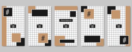 Trendy social network stories editable vector templates collection Vektorové ilustrace