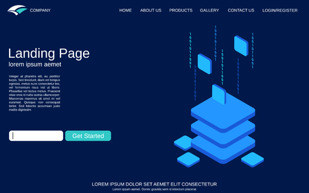 Website landing page vector template. Blue background with digital technology isometric comcept illustration