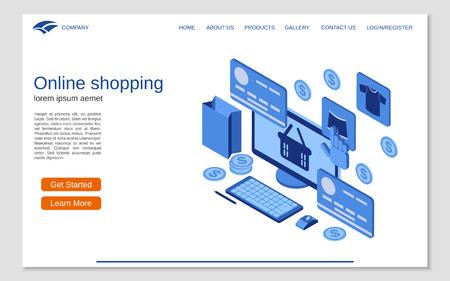 Online shopping flat 3d isometric vector concept illustration. Website landing page design template