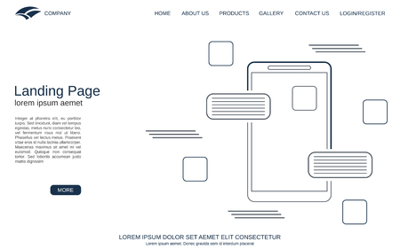 Website landing page vector template. Minimalistic design background for webpage, banner and application