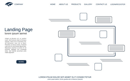 Website landing page vector template. Minimalistic design background for webpage, banner and application Vektorové ilustrace