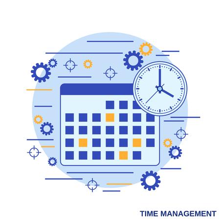Time management, business planning flat design style vector concept illustration