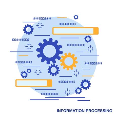 Information processing flat design style vector concept illustration Illustration