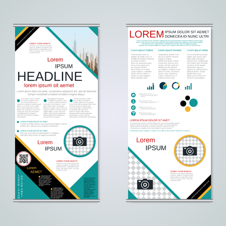 Modern roll-up abstract geometric style business banners, two-sided flyer vector design template